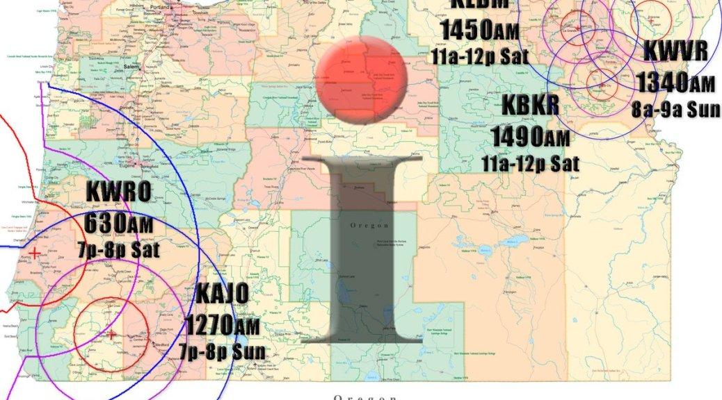 I Spy Radio Show broadcast areas, as of May 2018