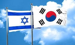 Israel flag with South Korea flag, 3D rendering