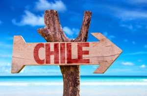 Chile wooden sign with beach background