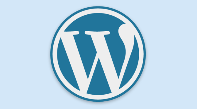 wordpress logo largo azul