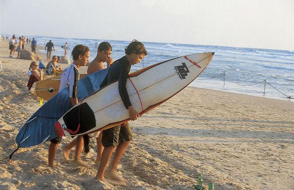 Surfers in Haifa.
