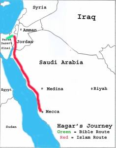 Hagar's Journey from the Paran Desert in the Sinai to Mecca in Arabia