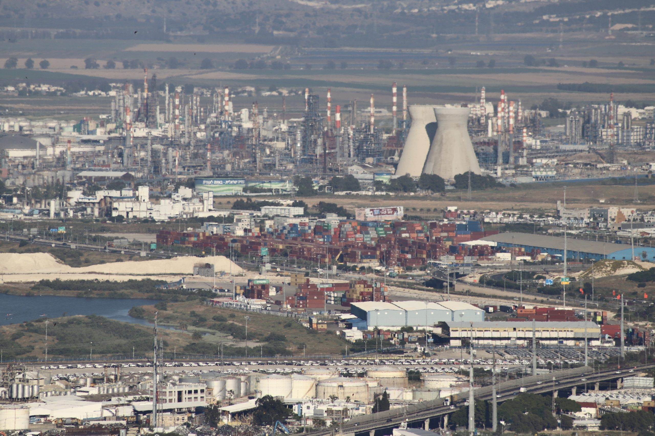 Iconic cooling towers at Haifa Refinery (Bazan Group)