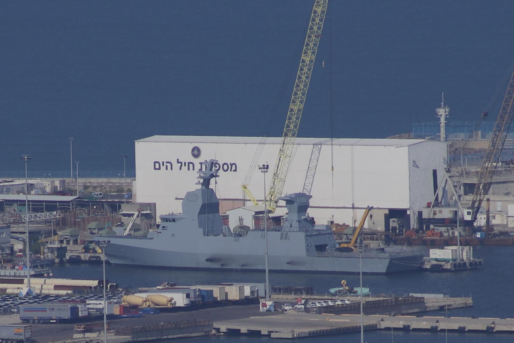 Sa'ar 6-class corvette anchored in the Haifa Port