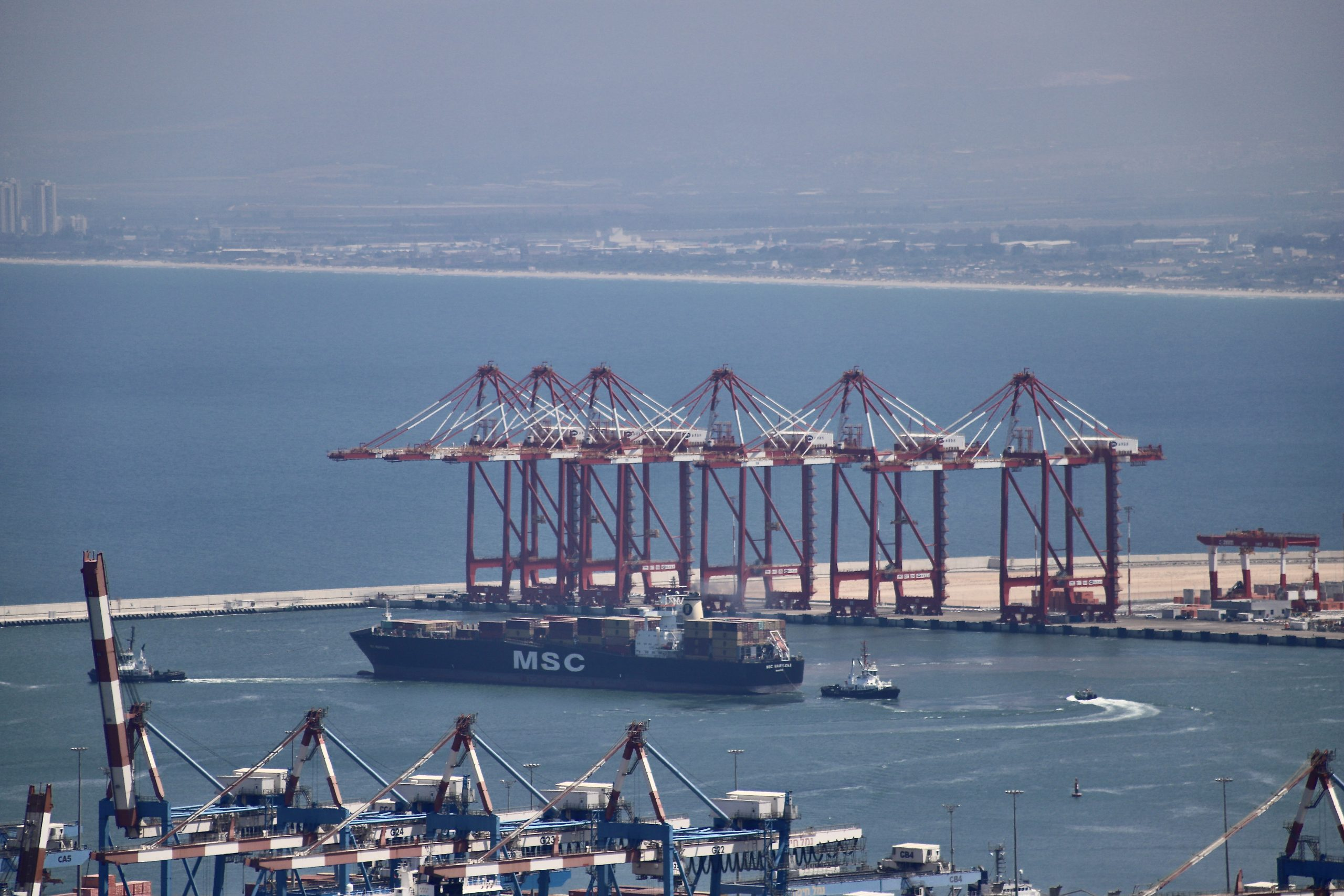 MSC Marylena, the first ship processed in a new Bay Port in Haifa, leaves to Turkey