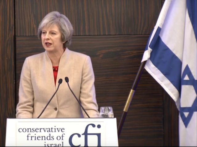 British Prime Minister Theresa May announced the adoption of the Israel-centric definition at a Conservative Friends of Israel event.