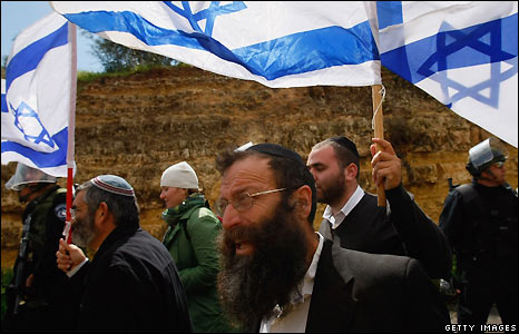 One of the leaders of the march was Baruch Marzel, who led the anti-Arab Kach party that was banned in Israel in 1994.
