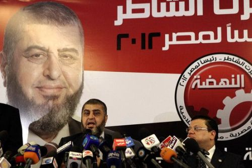 Khairat al-Shater, presidential candidate of Egypt's Muslim Brotherhood, at a press conference in Cairo, April 9.