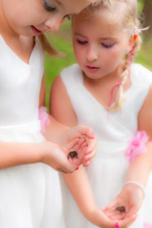 Bruidsmeisjes kijken naar kikkertje
