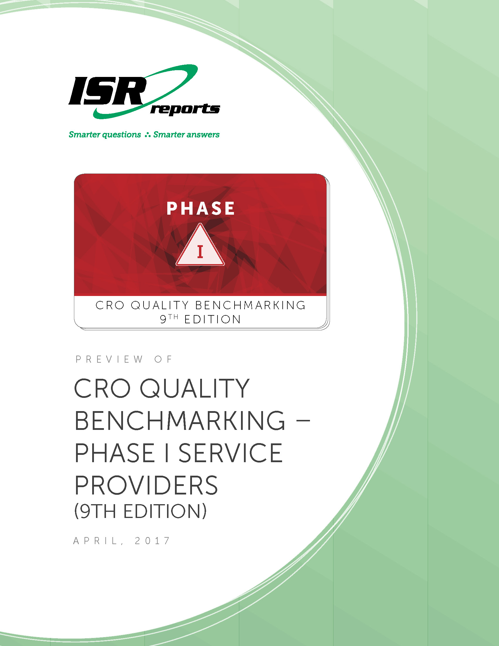 Report cover for CRO Quality Benchmarking – Phase I Service Providers (9th Edition)
