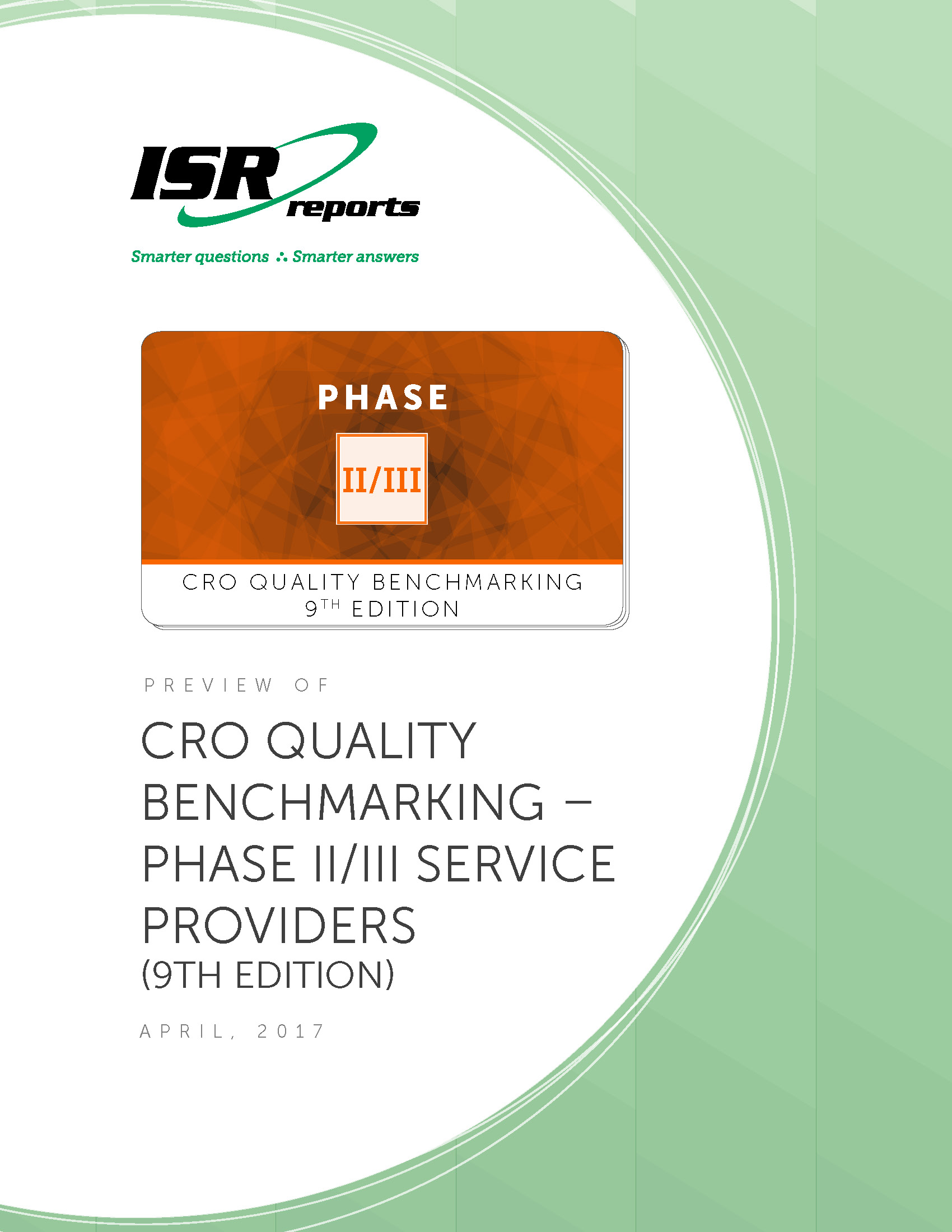 Report cover for CRO Quality Benchmarking – Phase II/III Service Providers (9th Edition)