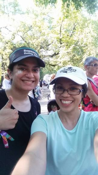 With Angela, a fellow witch from Hogwarts Running Club