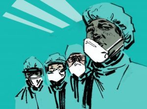 Drawing of doctors wearing masks