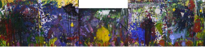 62 - 組作品(5点)「夢」カンバス(F12×5)、アクリル、ジェッソ、カラージェッソ、ブラックジェッソ、クリアジェッソ、オイルパステル、インク60.6×260.5cm 20160204