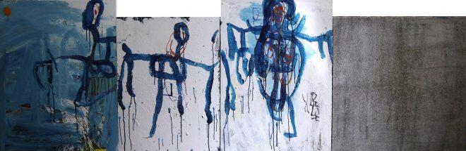 45 - 組作品(4点)「逃げまどう人達」カンバス(F30P25P30S25)、アクリル、パステル91×278.8cm 20151101