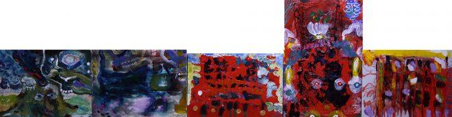 22 - 組作品(5点)「LOVE IN VAIN」カンバス、アクリル、胡粉ジェッソ 91×351.4cm 201050522