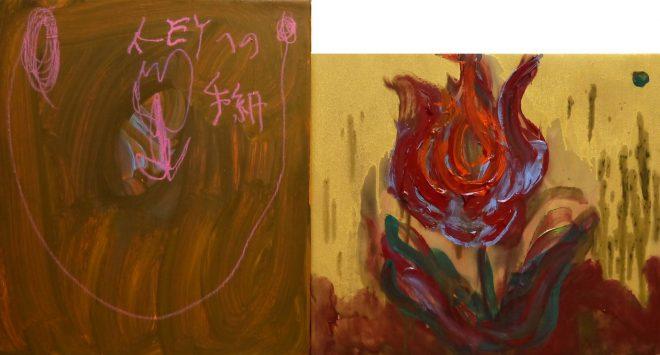 14 - 組作品(2点)「REVOLUTION」ベニヤ板、布、アクリル、ダーマトグラフ、インク 53×98.5cm 20150312
