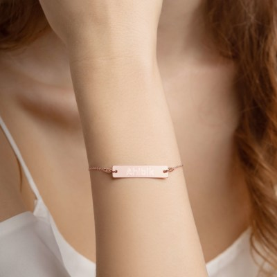 Engraved Silver Bar Chain Bracelet- Ahibik