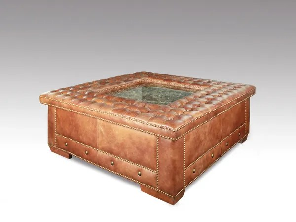 leather ottoman coffee table with granite