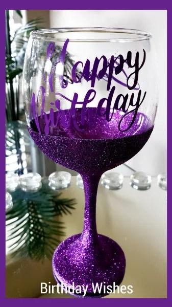 Happy Birthday Glittered Wine Glass
