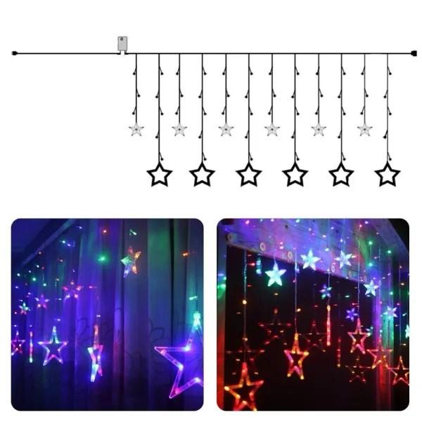 quace 12 stars 138 led curtain string lights window curtain lights with 8 flashing modes decoration for christmas wedding party home patio lawn