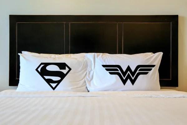 wonder woman superman pillowcases