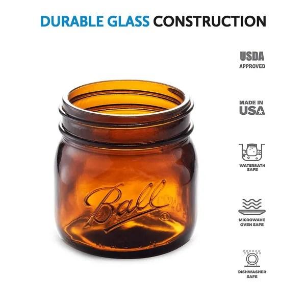 ball amber glass wide mouth mason jars
