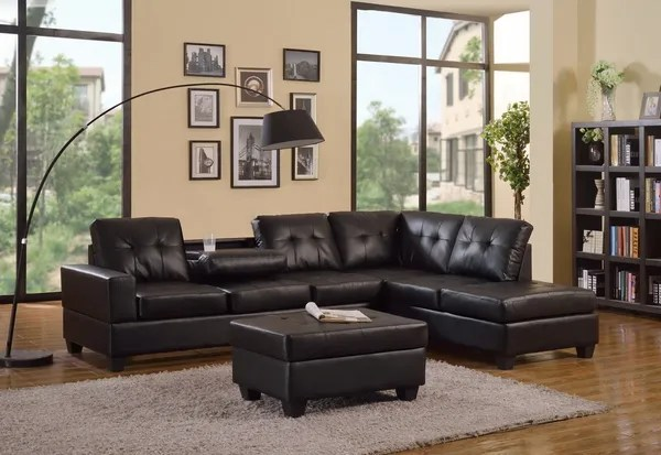 2303 black leather sectional storage ottoman