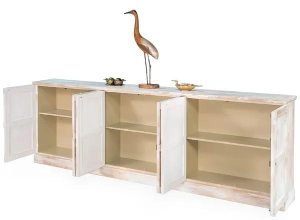 Long Buffet Table Pine Wood White Martelle