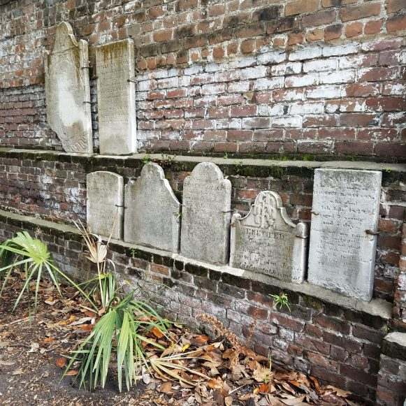 Wall of Headstones at Colonial Park Cemetery
