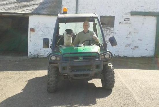 don sheepdog and owner tractor scotland