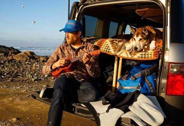 Denali and Ben Moon in van