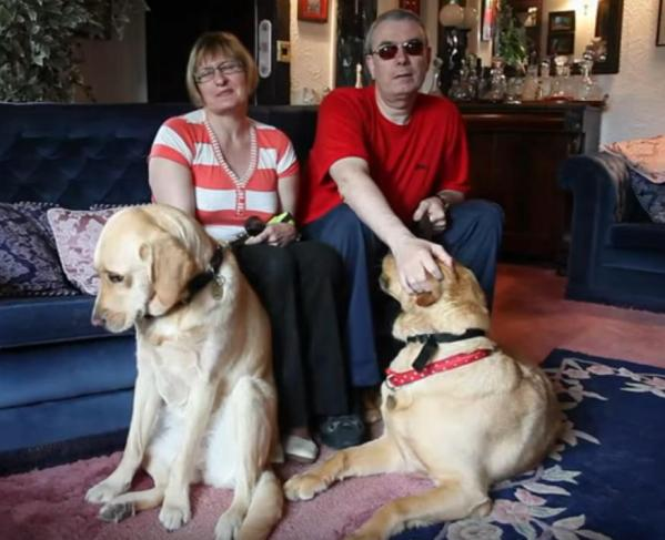 Mark and Claire Gaffey guide dogs in love