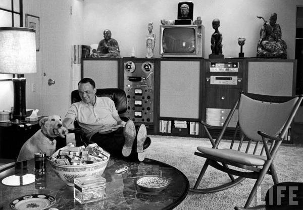 frank sinatra and dog in living room
