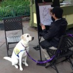 Aww! Service Dog-in-Training Poses for Caricature at Disneyland