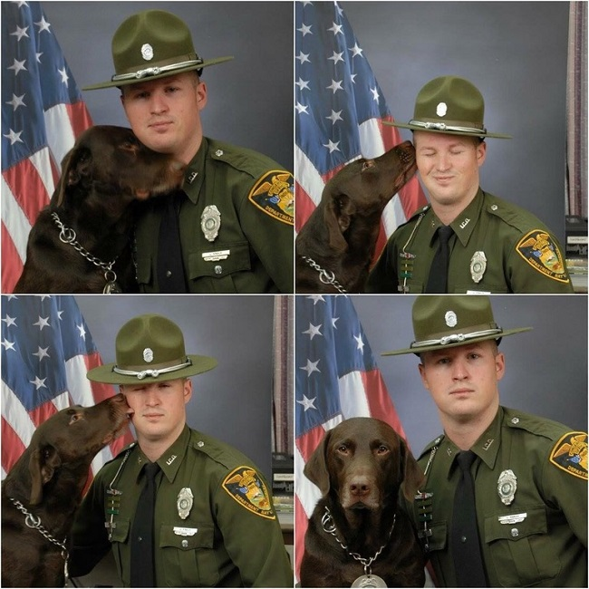 indiana police dog kissing partner