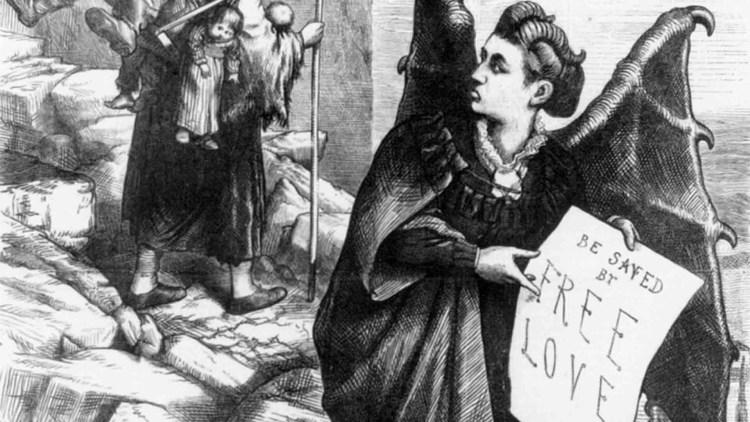 Una caricatura di Victoria Woodhull