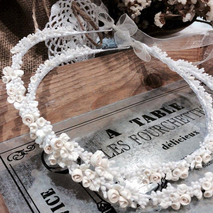 Old fashion στέφανα Ivory με άνθη από πορσελάνη