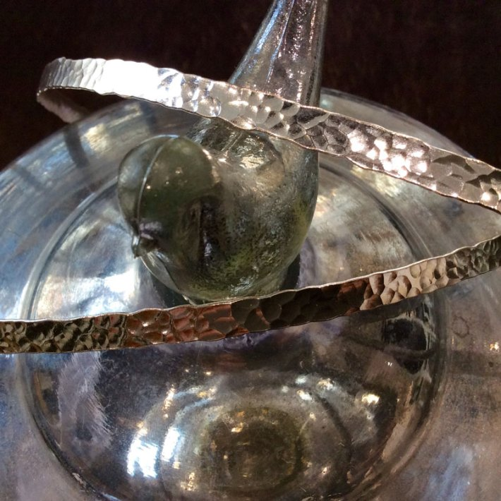 Silver plated wedding crowns in gold shade with shagreen texture