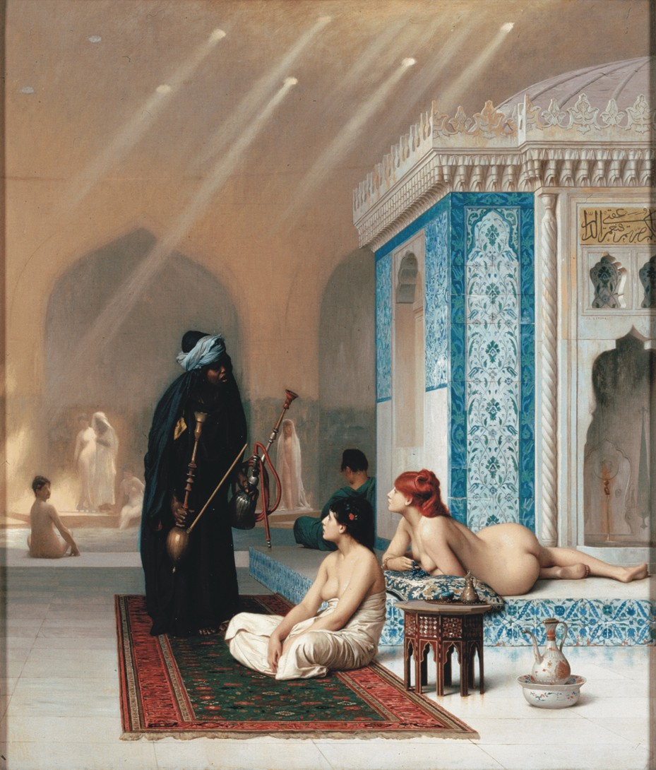 Базен у харему. Жан Леон Жером, уље на платну (1876). Данас се налази у музеју Ермитаж, Санкт Петербург