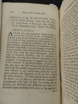 Letter from W. Watson to the Royal Society on electrical experiments in England on thunderclouds, read December 1752 to the Society.