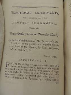 Written observations by John Canton on thunderclouds in confirmation of Franklin's observations, December 6, 1753.