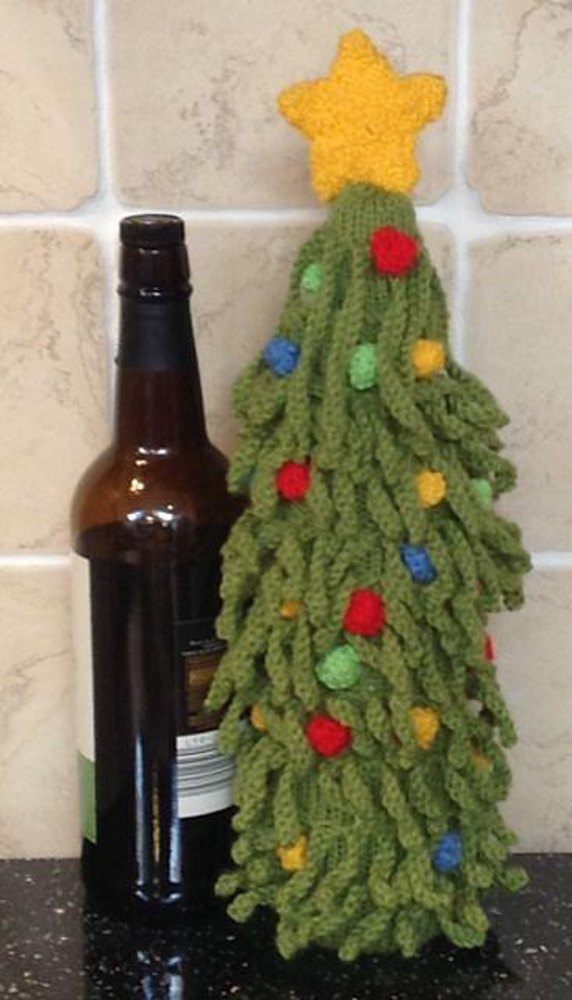 Christmas Tree Wine Bottle Cover Knitting Pattern By