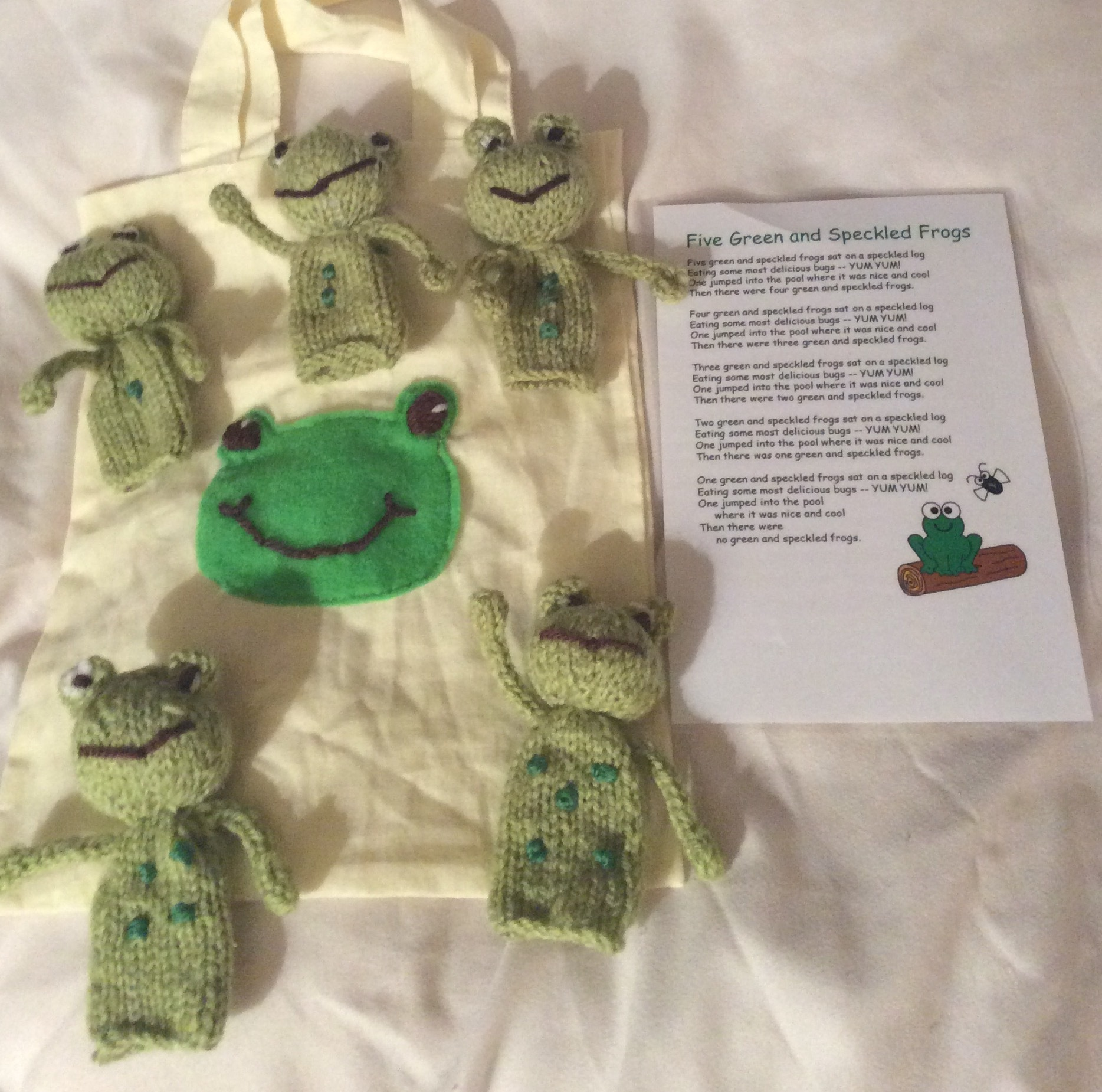 5 Little Speckled Frogs Knitting Project By Hennie