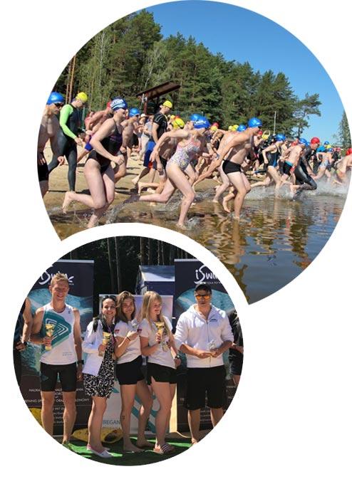 Zdjęcie składające się z dwóch obrazów, w kształcie koła. Na pierwszym zdjęciu znajduje się grupa pływaków wbiegająca do wody. Na drugim zdjęciu widać finalistów konkursu, są zadowoleni i trzymają otrzymane trofea.