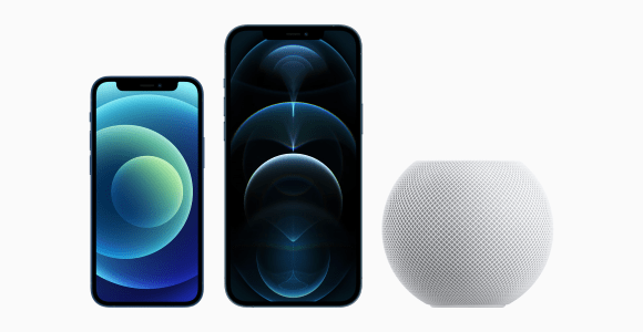 iPhone 12 Pro Max, iPhone 12 mini und HomePod mini