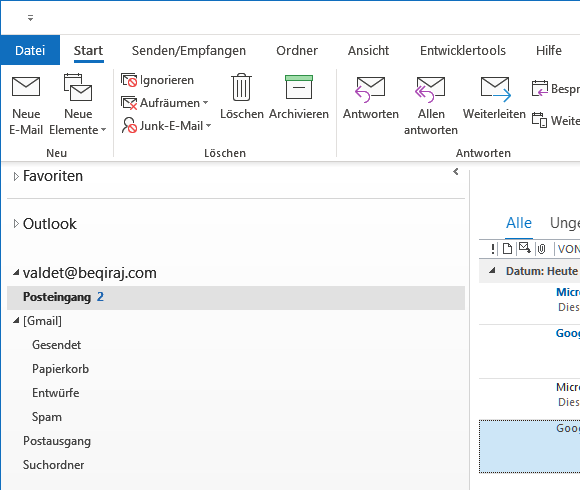 Gmail in Outlook 2016