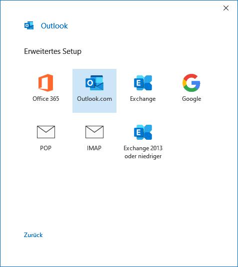 Outlook.com in Outlook 2019 hinzufügen