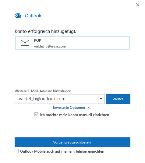 Hotmail in Outlook 2019 hinzufügen