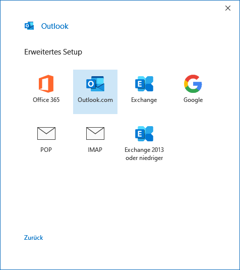 Outlook.com in Outlook 2019 hinzufügen